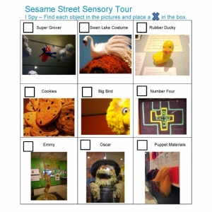 Sesame Street Scavenger Hunt that includes a grid of nine pictures that includes photos and labels of Super Grover, Rubber Duckie, and Puppet Materials with boxes for visitors to check off during their visit