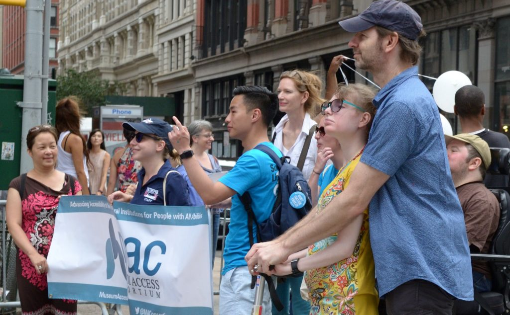 Image: Members of the Museum Access Consortium march in New York City's Disability Pride Parade in 2016.