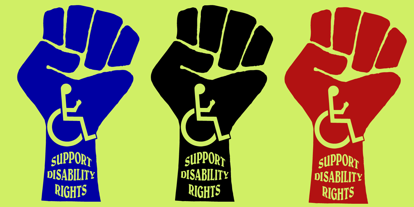 "Three graphic fists with an accessibility icon and the words ""support disability rights"" in bold blue, black and red on a bright green background"
