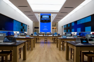 Room full of tablets within Microsoft Store