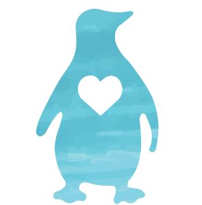 A sky blue silhouette penguin with a white heart in their chest.