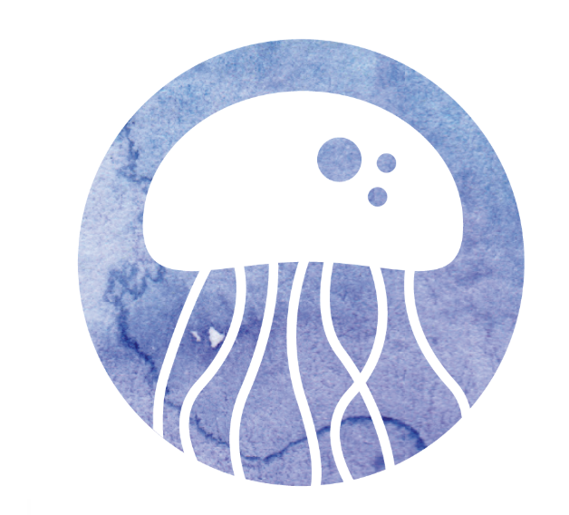 A graphic of a white octopus on a blue background