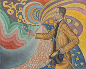 In the foreground a man wearing a suit and light brown overcoat holds out a flower, against a swirling background of various brightly colored patterns.
