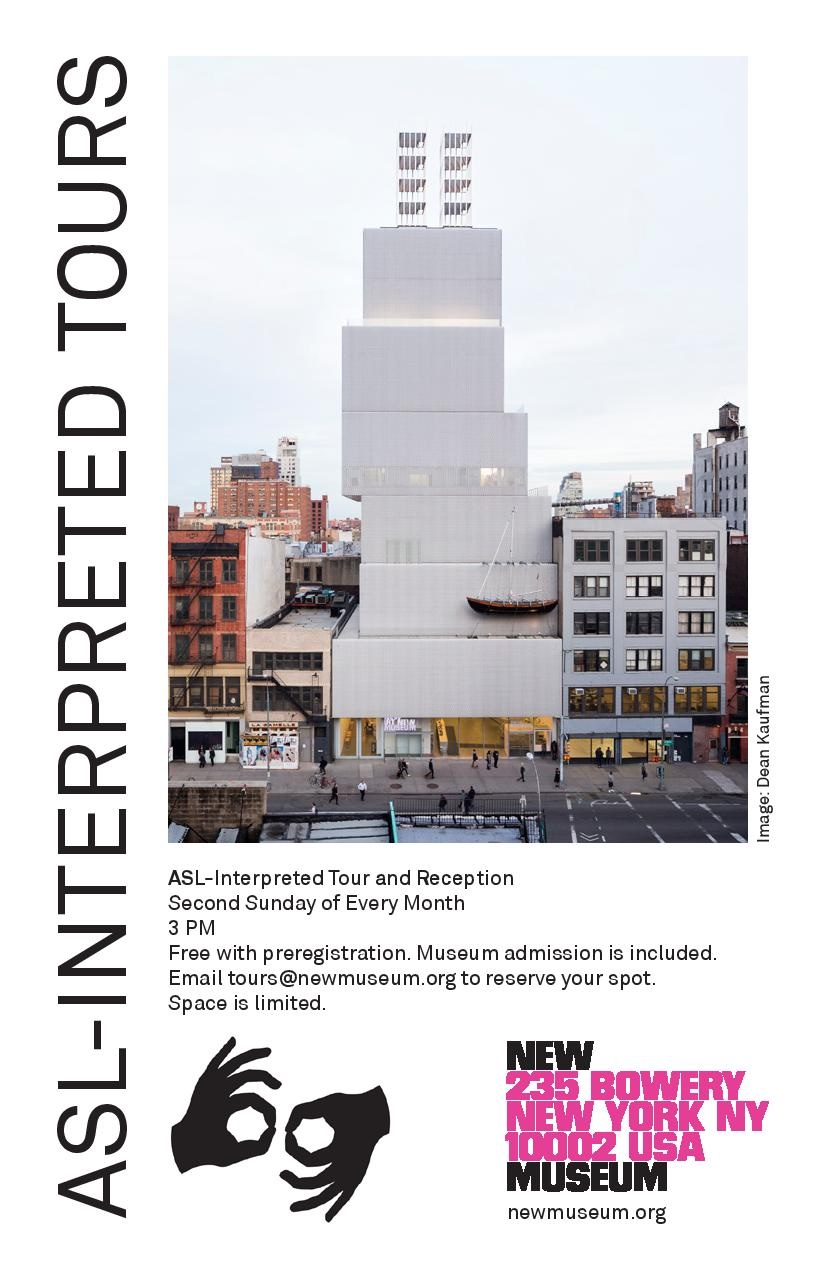 Flyer featuring the New Museum's building