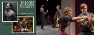 A collage of 4 photos. Photo 1: John stands with his hands in his pockets smiling slightly at the camera. The following 3 photos show John performing on stage in various productions.