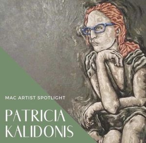 Self-Portrait painting of Artist Patricia Kalidonis in warm grays. With blue glasses and red hair, Patricia rests her chin on her hand, and awkwardly crosses her legs.