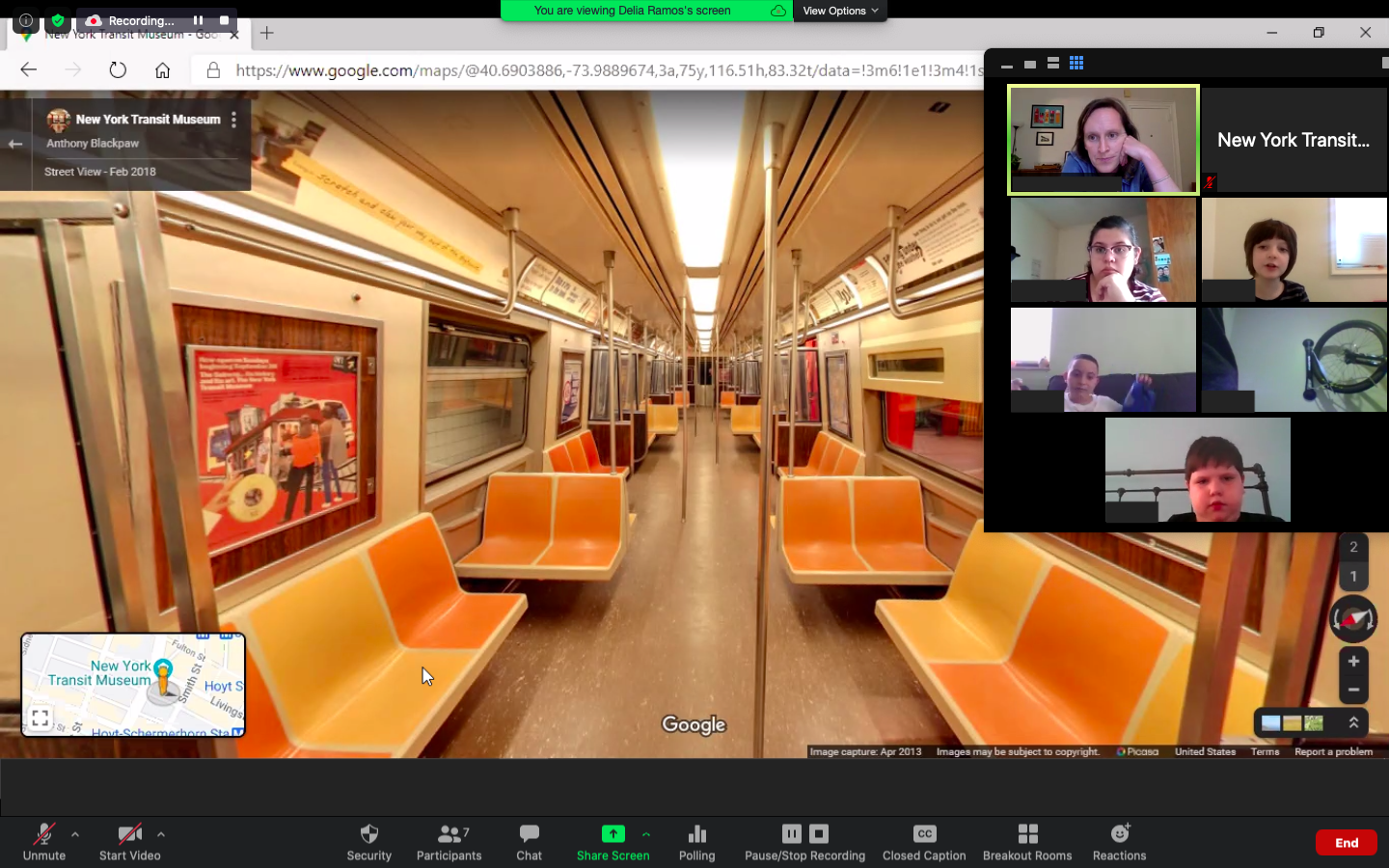 Subway Sleuths teachers and students virtually explore a subway car during a Zoom meeting.