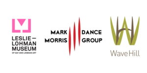 Logos for Leslie-Lohman Museum, Mark Morris Dance Group, and Wave Hill.